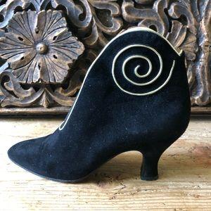 Vtg Maud Frizon Gold Swirl Black Suede Boots 36.5